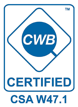 Maverick Industries Ltd. is a Division 2 CWB certified company and is certified to CSA Standard W47.1